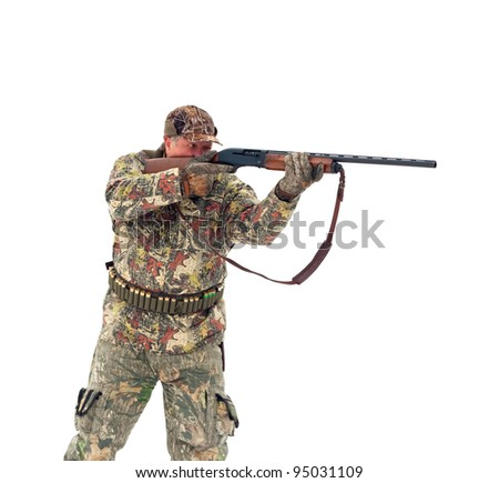 Male hunter in camouflage aiming at his target or prey with his gun.Isolated on white background