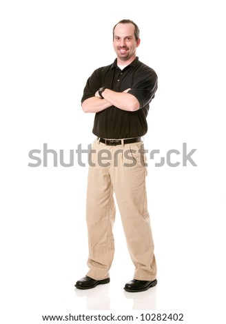 male in business casual cloth with arms crossed