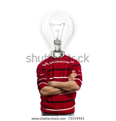 male in red and lamp-head have got an idea