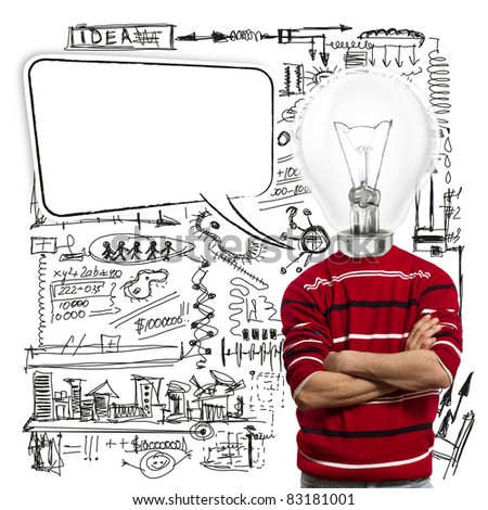 male in red and lamp-head with speech bubble have got an idea