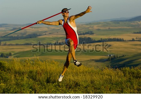 Male Javelin standing before event