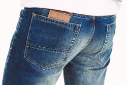 Male jeans. Mans Legs in Jeans and shoes. Man wearing jeans and boots on white background