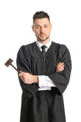 Male judge on white background