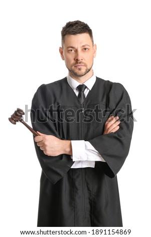 Male judge on white background ストックフォト ©