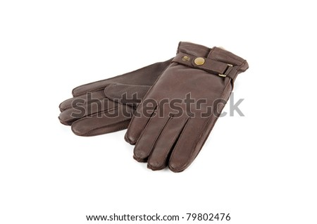 male leather gloves isolated on a white
