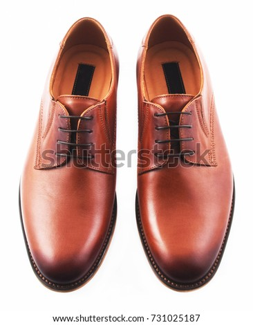 Male leather shoes, brown, top view, isolated on white background #731025187