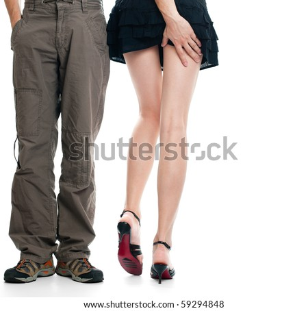 male legs near sexy female legs, male hand touching female buttocks, everything isolated on white background