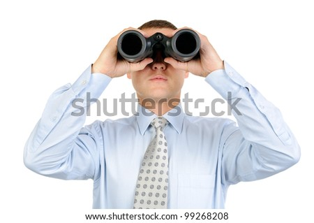 Male looking with binoculars isolated on white background
