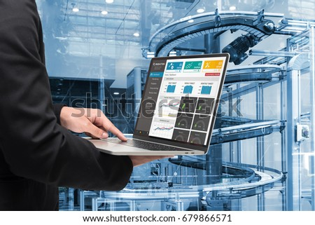 Male manager hand laptop for check real time production monitoring system application in smart factory industrial. Automated conveyor systems for package transfer machine Industry 4.0 and iot concept.