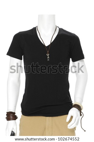 male mannequin dressed in black t- shirt