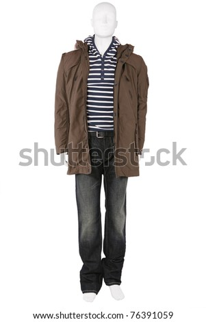 Male mannequin dressed in elegant clothes, isolated on white