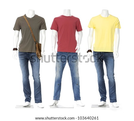 Male mannequin dressed in jeans with three colorful t-shirt
