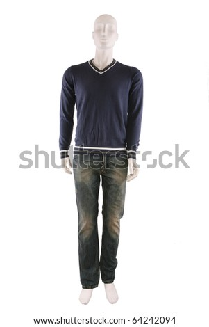 Male mannequin dressed in sweater and jeans and isolated on white - stock photo