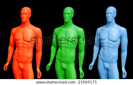 Male mannequins performed as RGB colors. Isolated on black background.