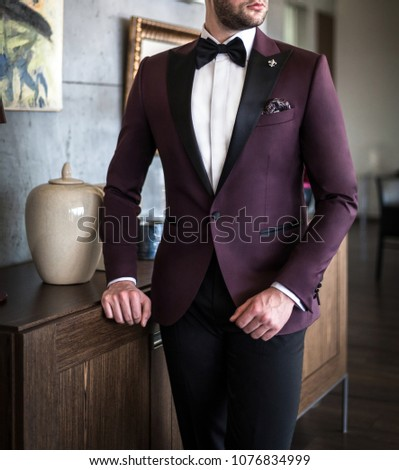 Male model in custom tailored tuxedo, suit posing indoors