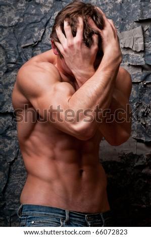 Male model in emotional emotional breakdown