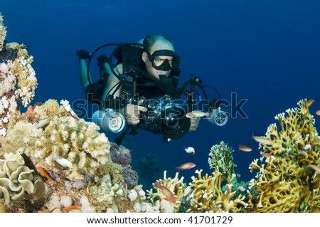 male model underwater photographer