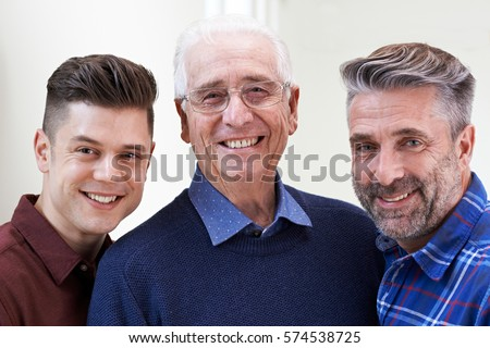 Male Multi Generation Portrait At Home