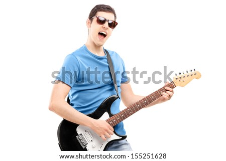 Male musician playing an electric guitar, isolated on white background