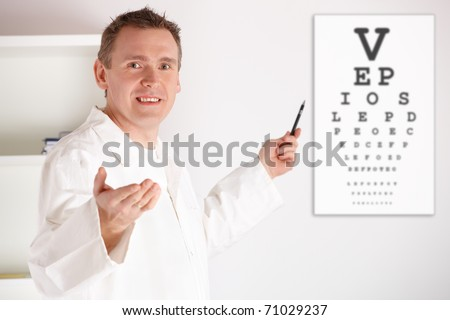 Male oculist doctor examining patient with an eye chart behind him.