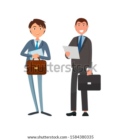 Male office workers in suits raster cartoon characters. Business people leaders with briefcases and paper sheets, successful managers isolated managers