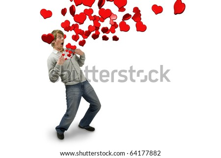 Male opening his top up to release lots of hearts. A surprised expression on his face. Conceptual image displaying falling in love.A combined image of photography and 3D rendering.