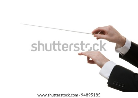 Male orchestra conductor hands, one with baton. White background.