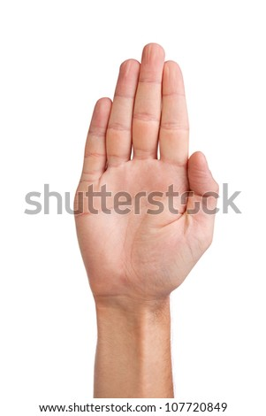 Male palm hand gesture, isolated on a white background