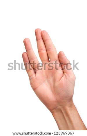 Male palm hand vulcan gesture, isolated on a white background