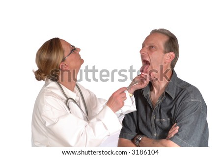 stock photo : Male patient undergoing physical exam with female doctor. ...