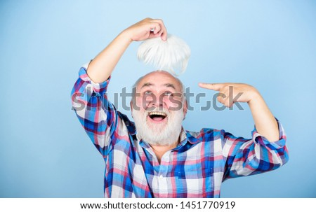 Male pattern baldness genetic condition caused by variety factors. Health care concept. Elderly people. Bearded grandfather grey hair. Hair loss. Early signs balding. Man losing hair. Artificial hair.