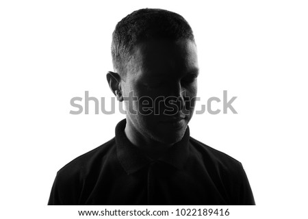 Male person silhouette over white #1022189416