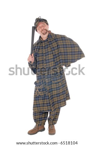 Male police officer dressed up as detective Sherlock Holmes investigating crime scene, white background