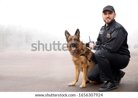 Male police officer with dog patrolling city street Stock fotó ©