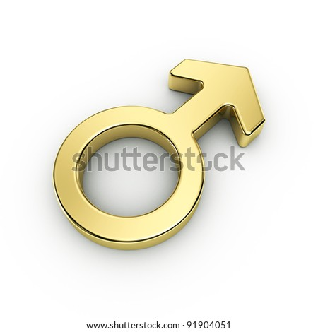 male sex symbols, golden, isolated over white background