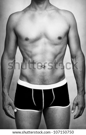 Male sexy underwear model in black underpants