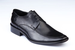 male shoe, black, leather, laced, isolated