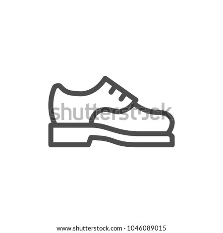 Male shoe line icon isolated on white