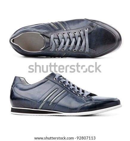 Male shoes over white, view from above and side view