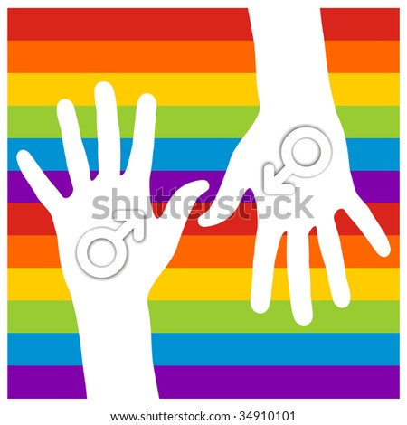 in hands over gay flag