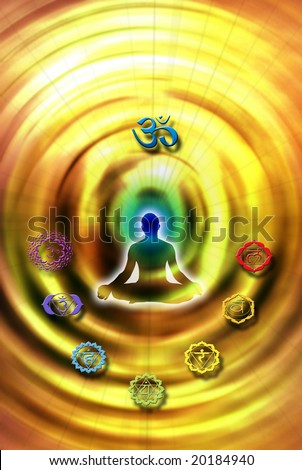male silhouette in yoga position of lotus with chakra