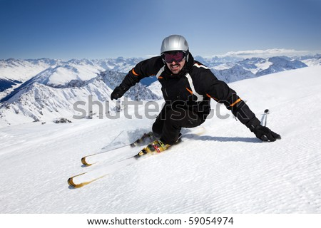 Male skier with mountain view in Davos-Pischa, Switzerland