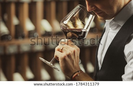 Male sommelier tasting red wine at cellar. Stock photo ©