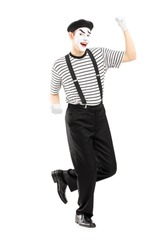 Male street performer dancing isolated on white background