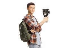 Male student with a backpack holding a vintage 8mm camera isolated on white background