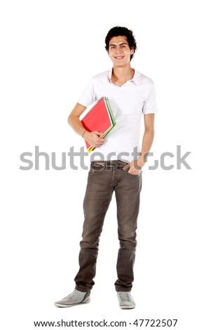 male student with notebook isolated over a white background