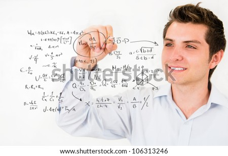 Male student writing math formulas� education portrait