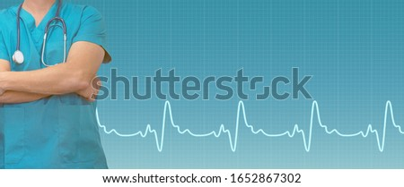 Male surgeonor doctor with a stethoscope. Doctor man with stethoscope in blue background. Doctor and ecg line on medical blue background. Medical web sites with copy space. Health care banner.