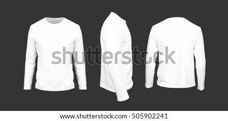 Male sweatshirt of white color against a dark background