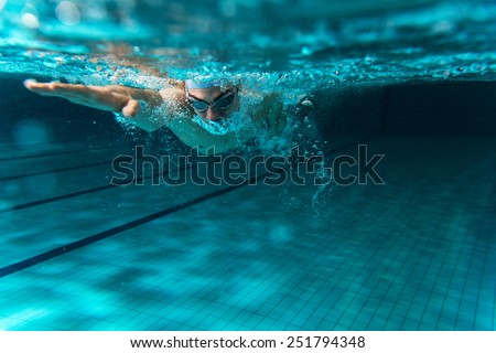 Male swimmer at the swimming pool.Underwater photo. #251794348
